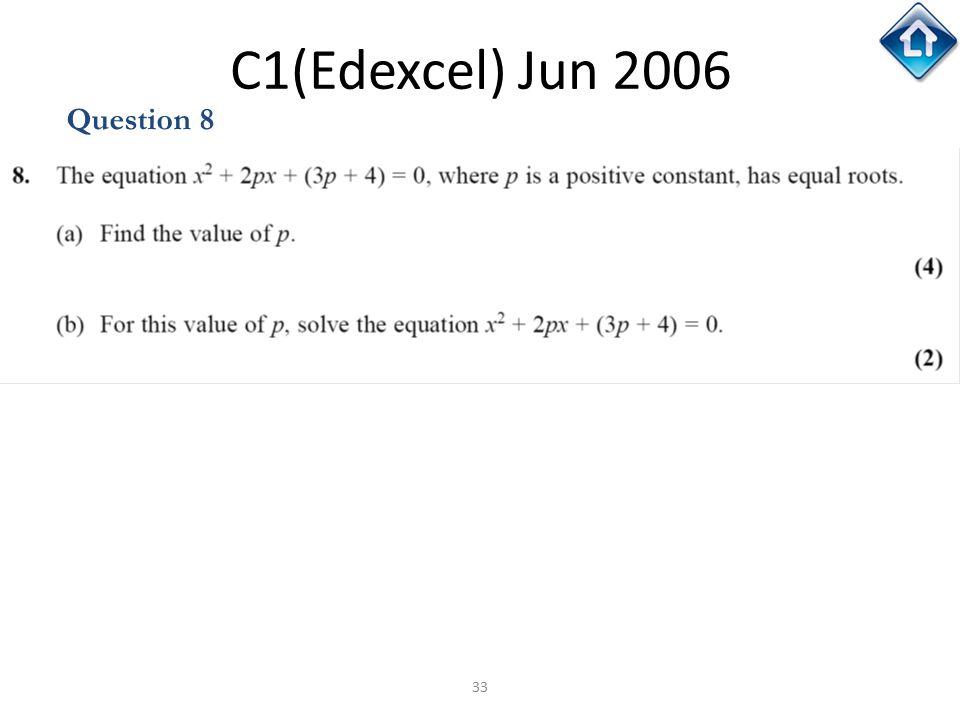 C1(Edexcel) Jun 2006 Question 8 C1(Edexcel) Jun 2006