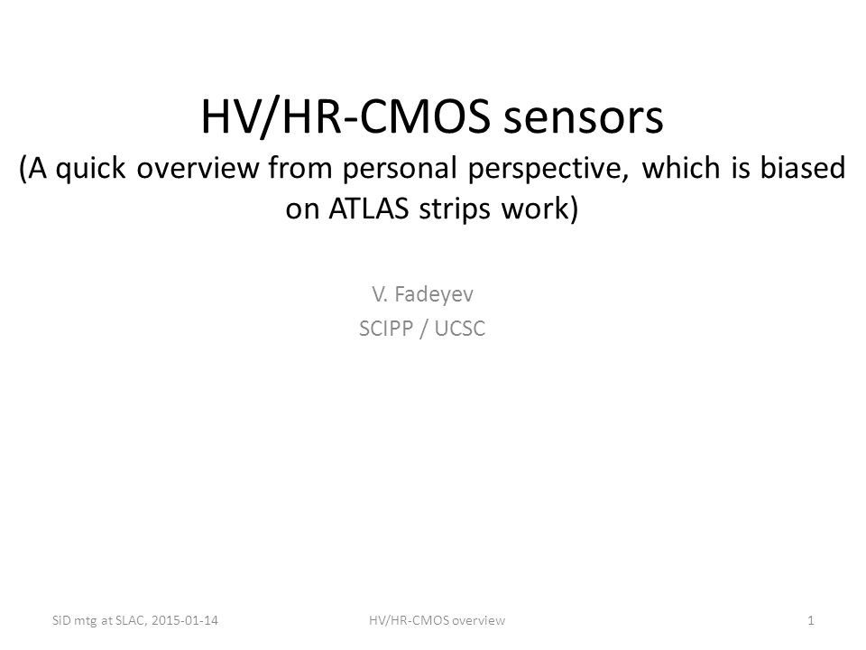 HV/HR-CMOS sensors (A quick overview from personal perspective, which is biased on ATLAS strips work)