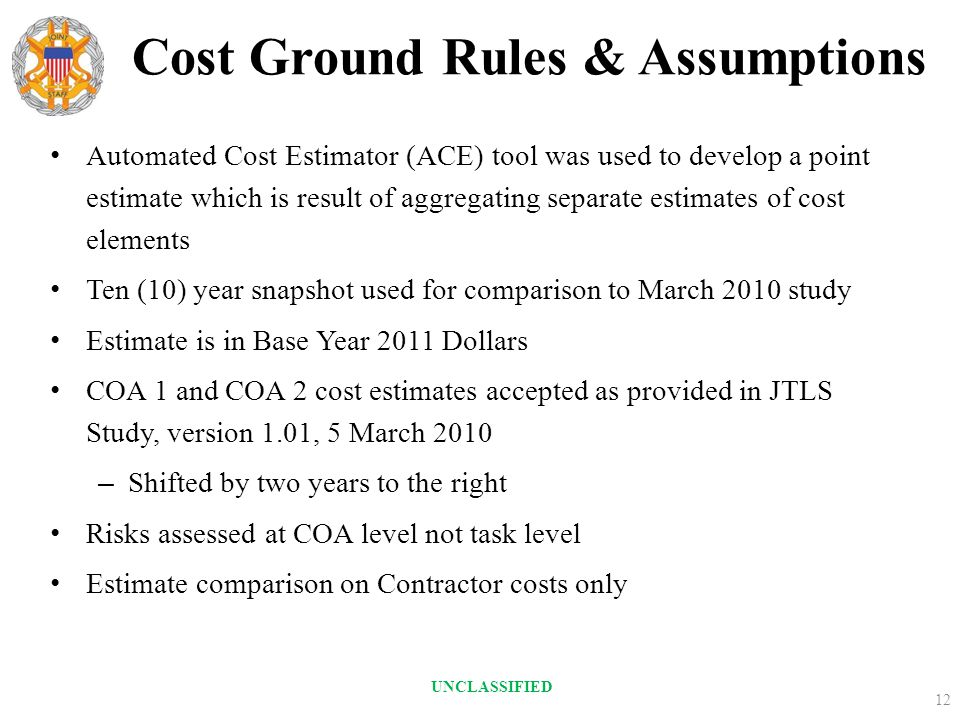 Cost Ground Rules & Assumptions