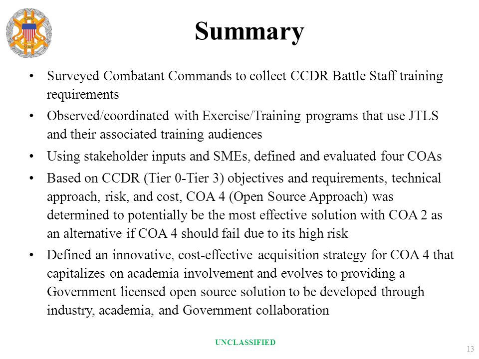 Summary Surveyed Combatant Commands to collect CCDR Battle Staff training requirements.