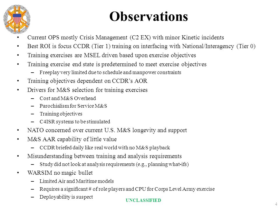 Observations Current OPS mostly Crisis Management (C2 EX) with minor Kinetic incidents.