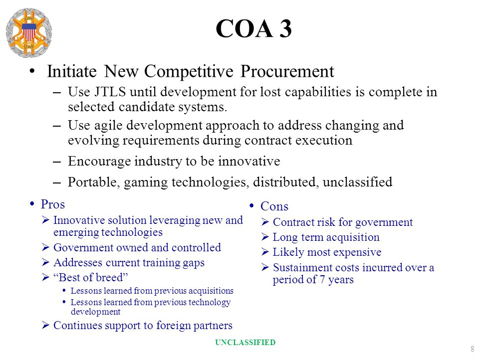 COA 3 Initiate New Competitive Procurement