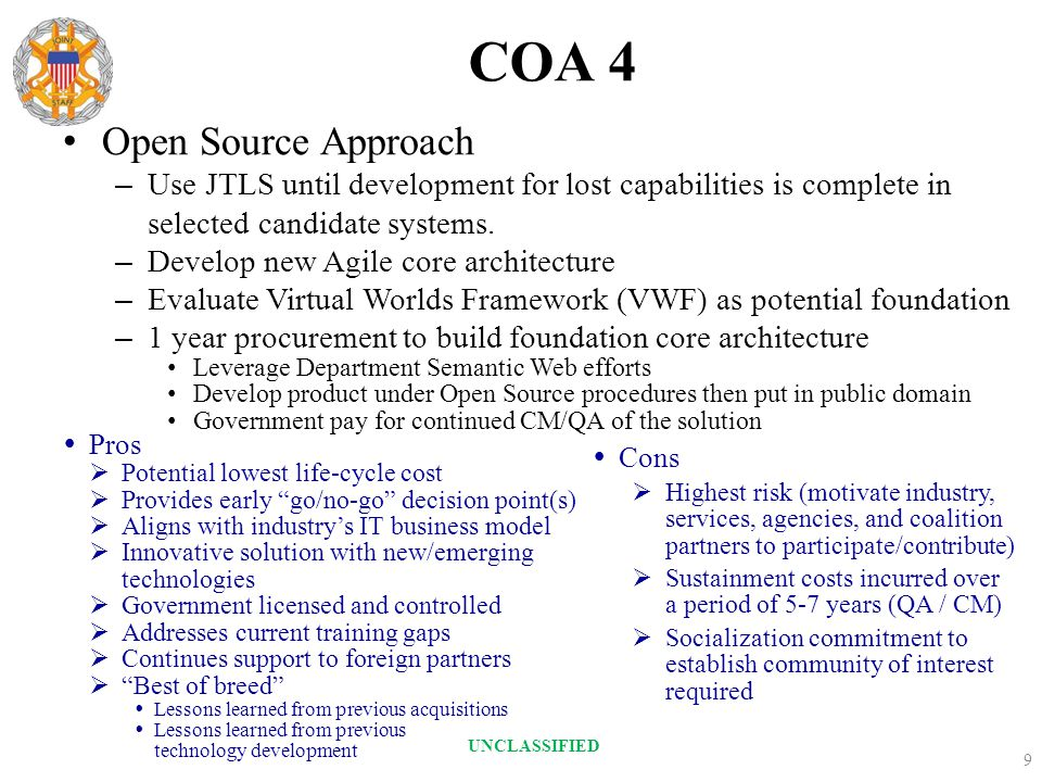 COA 4 Open Source Approach