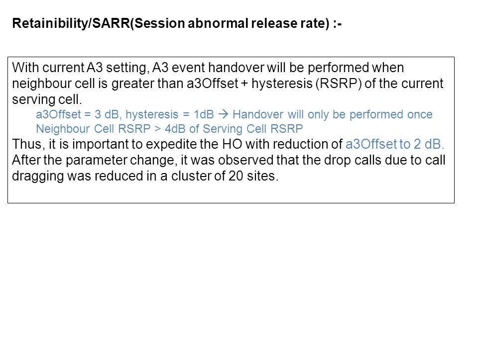 Retainibility/SARR(Session abnormal release rate) :-