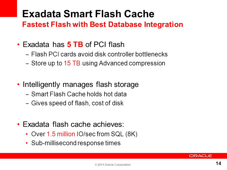 Exadata Smart Flash Cache Fastest Flash with Best Database Integration