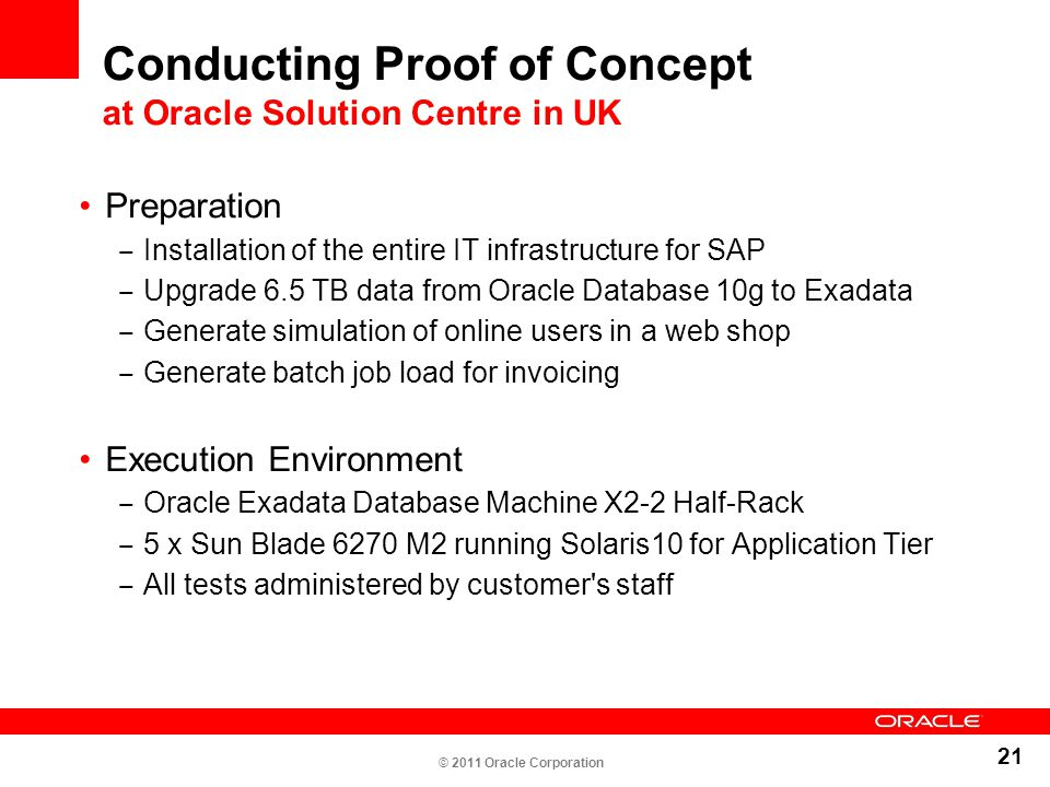 Conducting Proof of Concept at Oracle Solution Centre in UK