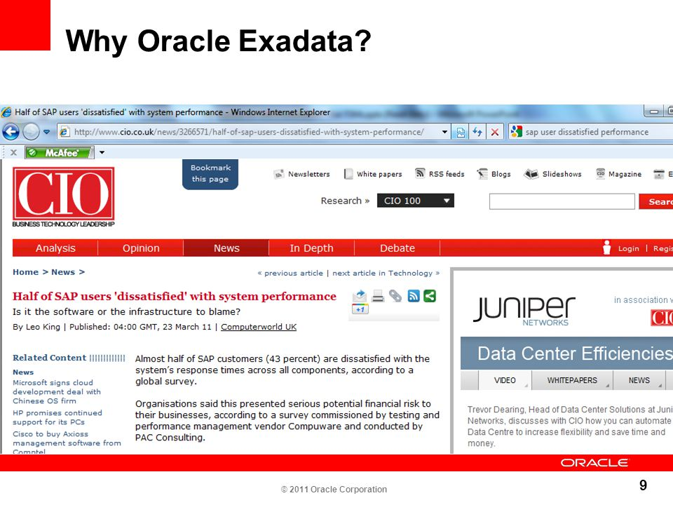 Why Oracle Exadata © 2011 Oracle Corporation