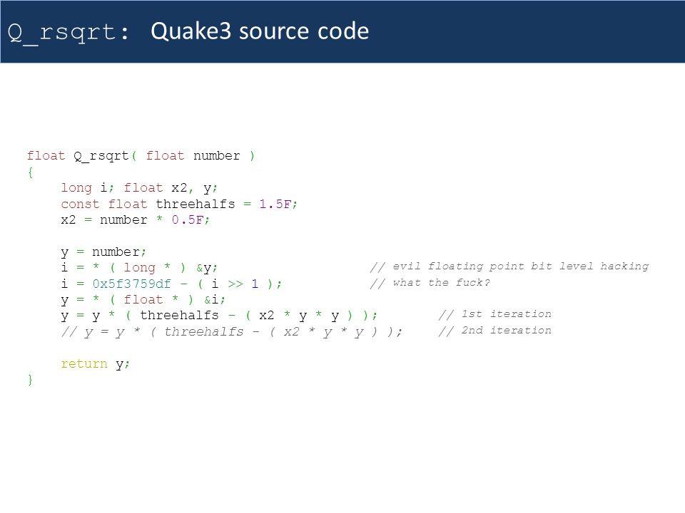 Q_rsqrt: Quake3 source code