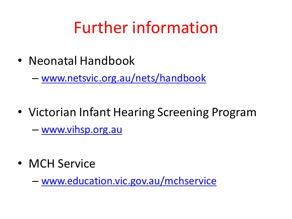 Further information Neonatal Handbook