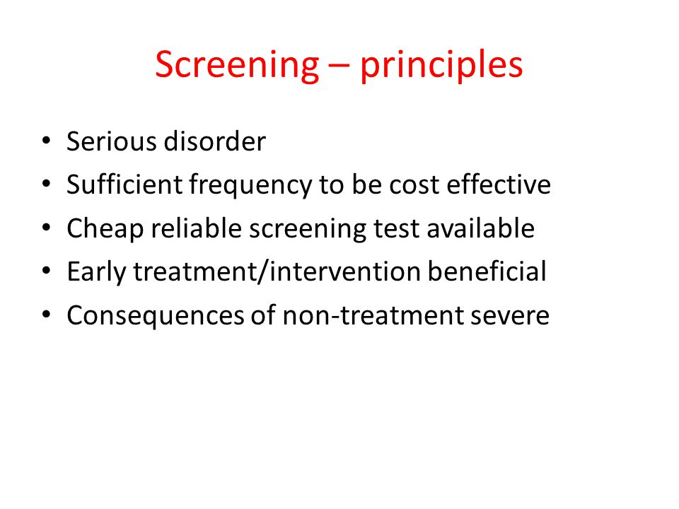 Screening – principles