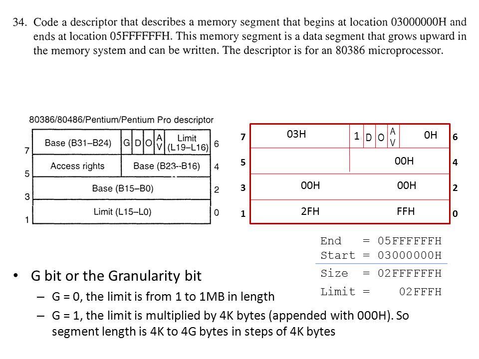 G bit or the Granularity bit