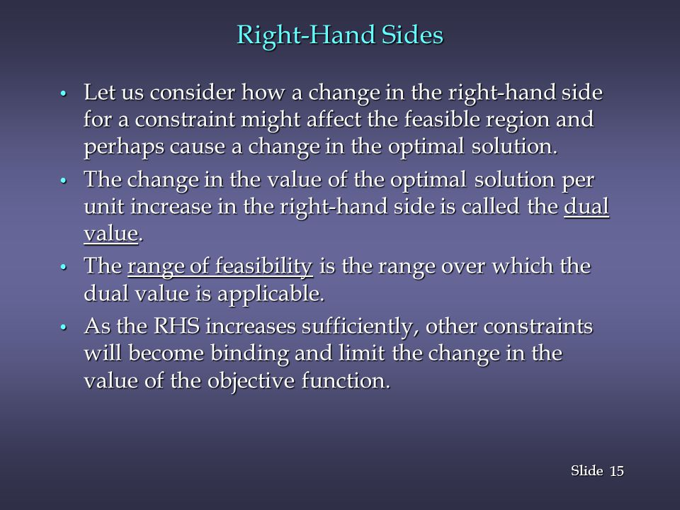 Right-Hand Sides