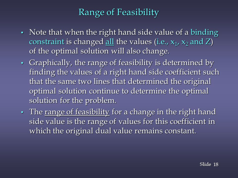 Range of Feasibility