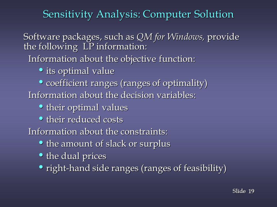 Sensitivity Analysis: Computer Solution