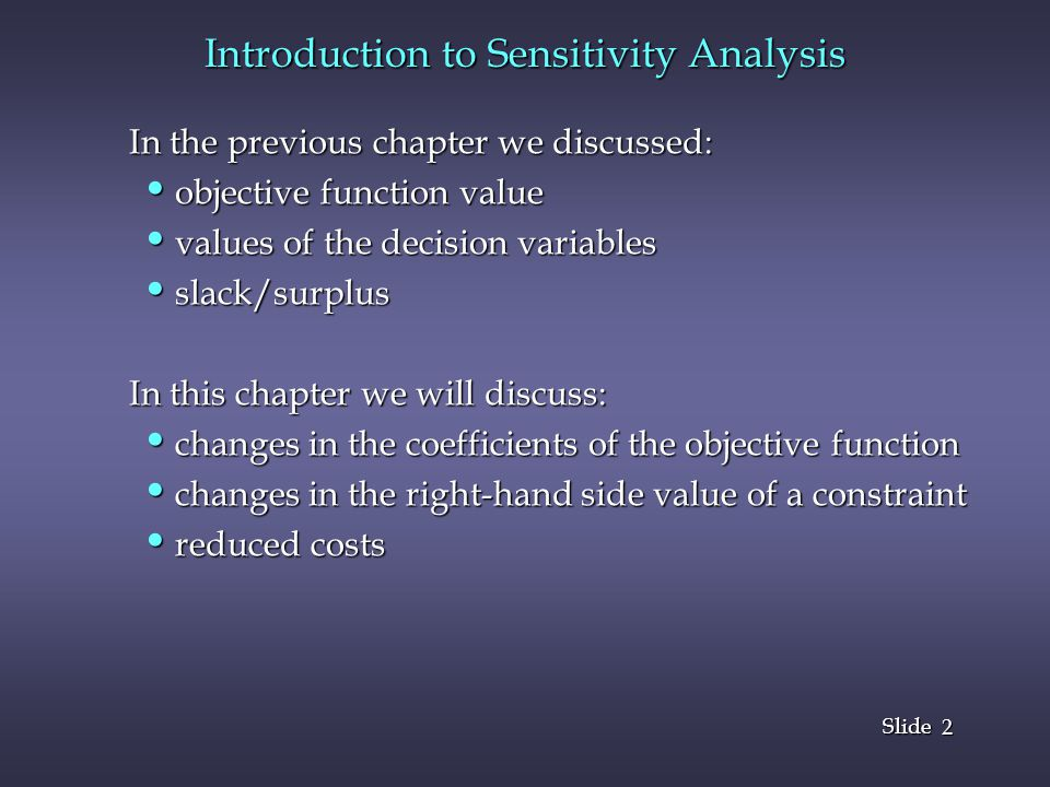 Introduction to Sensitivity Analysis