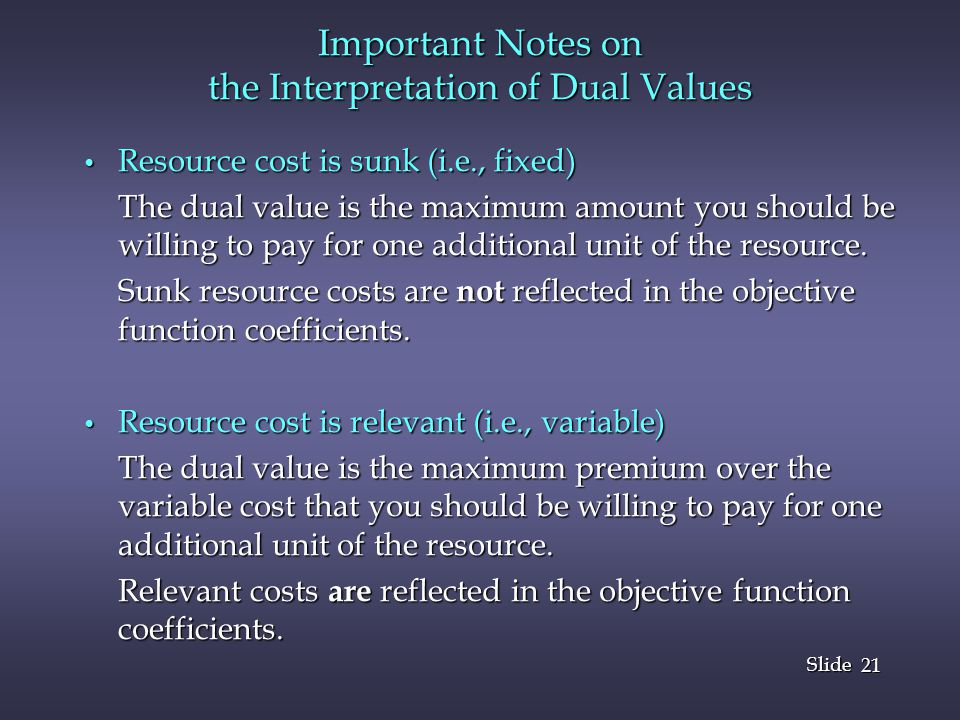 Important Notes on the Interpretation of Dual Values