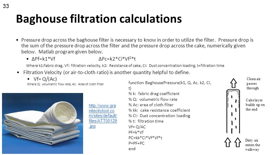 Baghouse filtration calculations