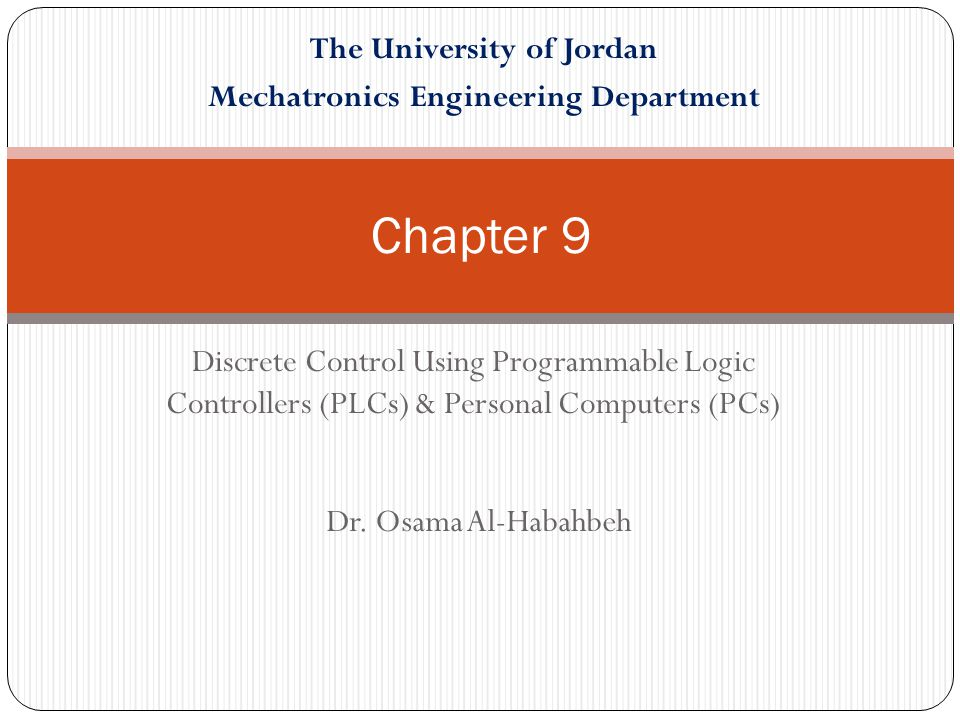 The University of Jordan Mechatronics Engineering Department