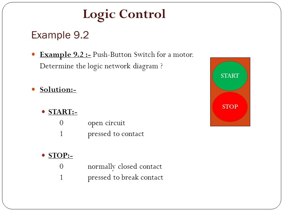 Logic Control Example 9.2. Example 9.2 :- Push-Button Switch for a motor. Determine the logic network diagram