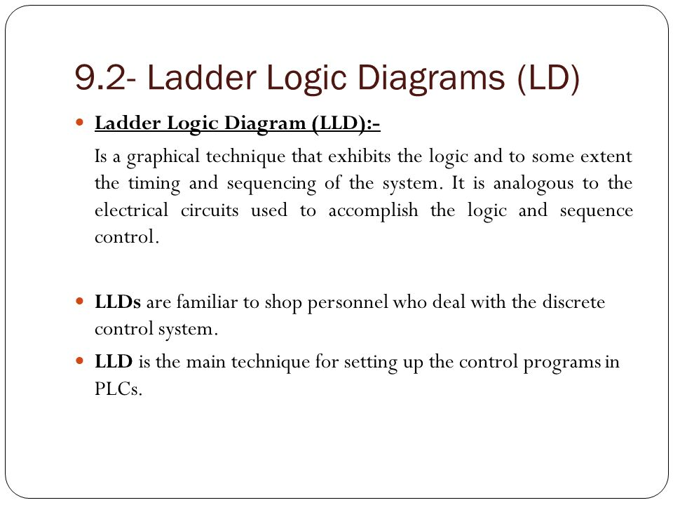9.2- Ladder Logic Diagrams (LD)