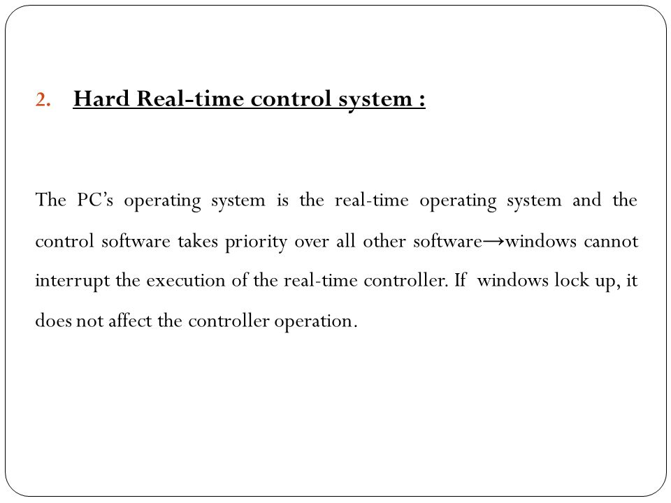 Hard Real-time control system :