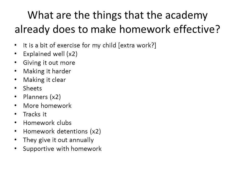 What are the things that the academy already does to make homework effective