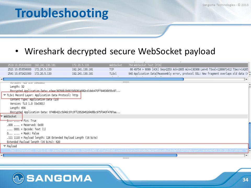 Troubleshooting Wireshark decrypted secure WebSocket payload
