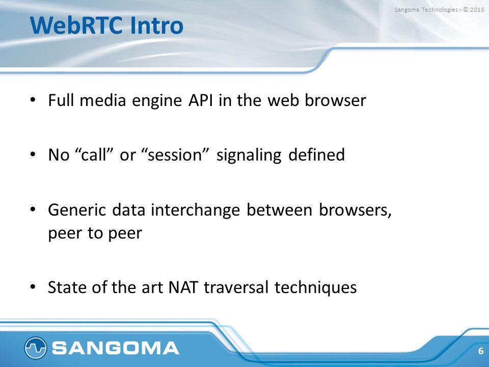 WebRTC Intro Full media engine API in the web browser