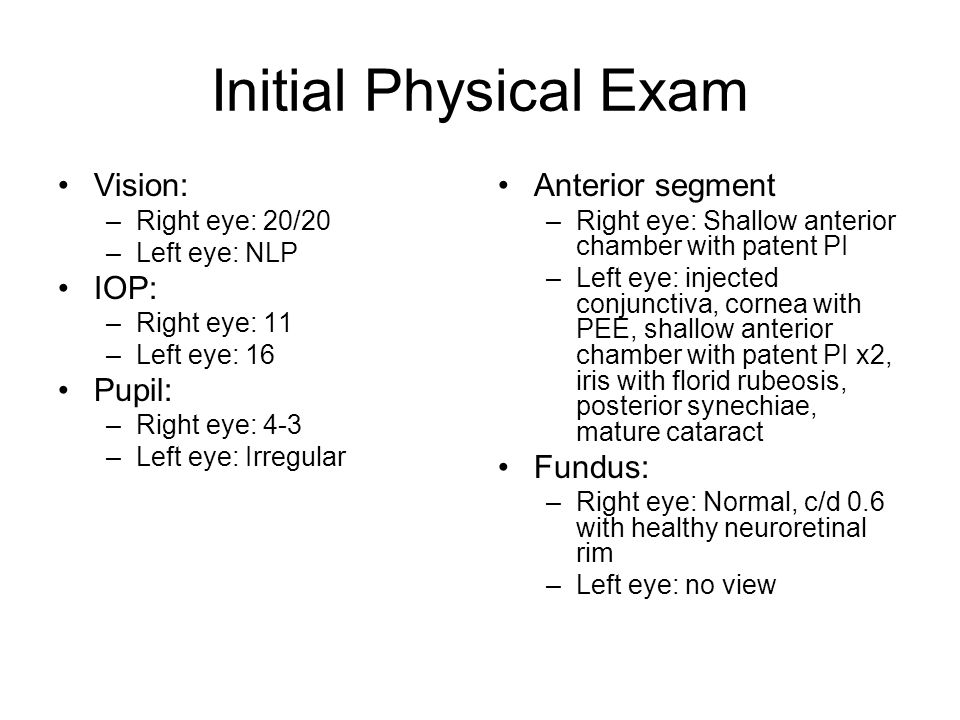 Initial Physical Exam Vision: IOP: Pupil: Anterior segment Fundus: