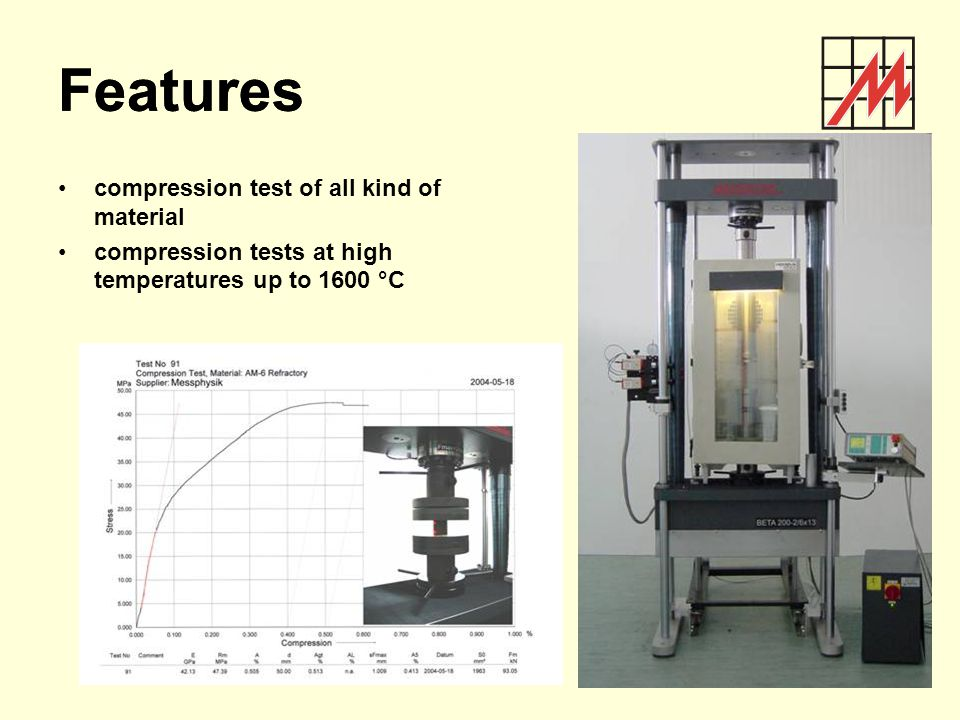 Features Features compression test of all kind of material