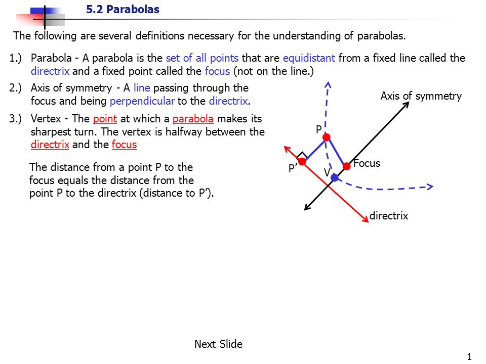 The following are several definitions necessary for the understanding of parabolas.