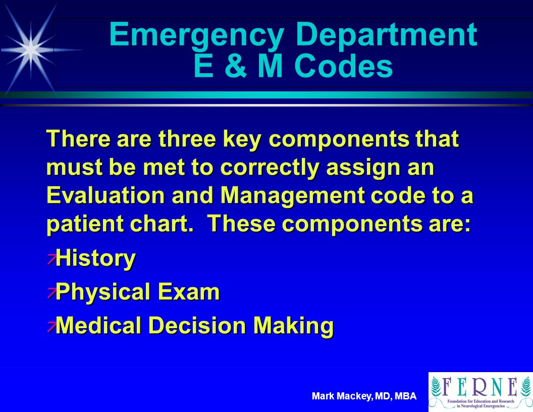 Emergency Department E & M Codes