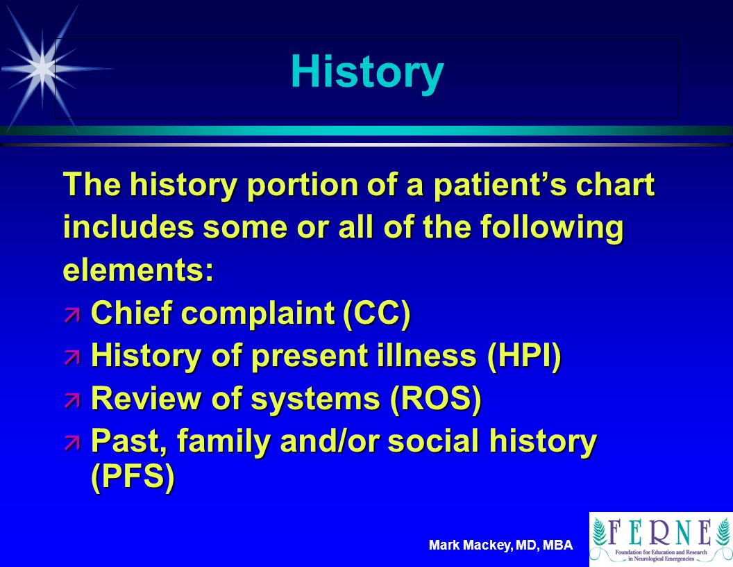 History The history portion of a patient's chart