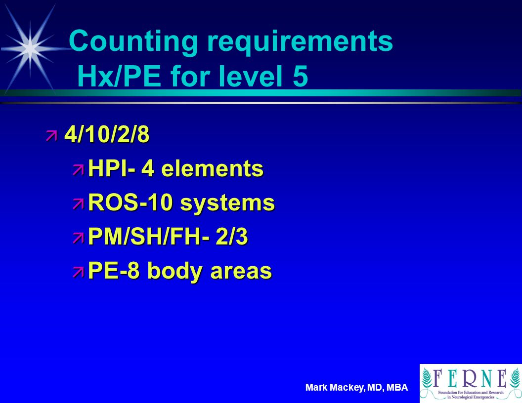Counting requirements Hx/PE for level 5