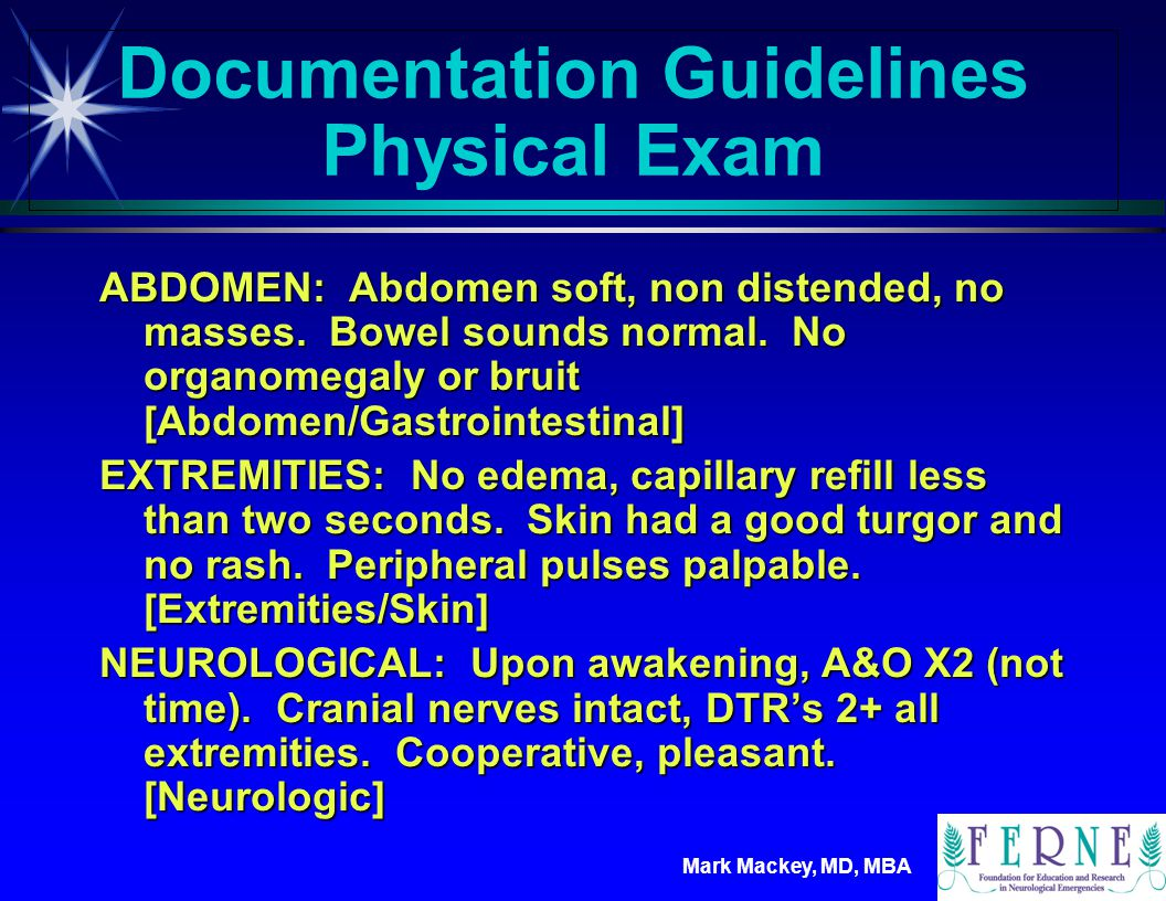 Documentation Guidelines Physical Exam