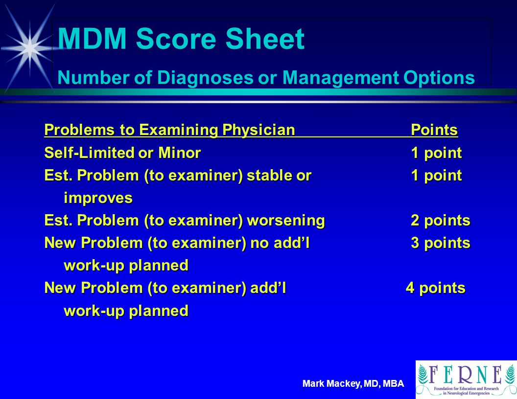 MDM Score Sheet Number of Diagnoses or Management Options
