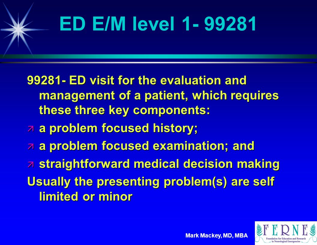 ED E/M level 1- 99281 99281- ED visit for the evaluation and management of a patient, which requires these three key components: