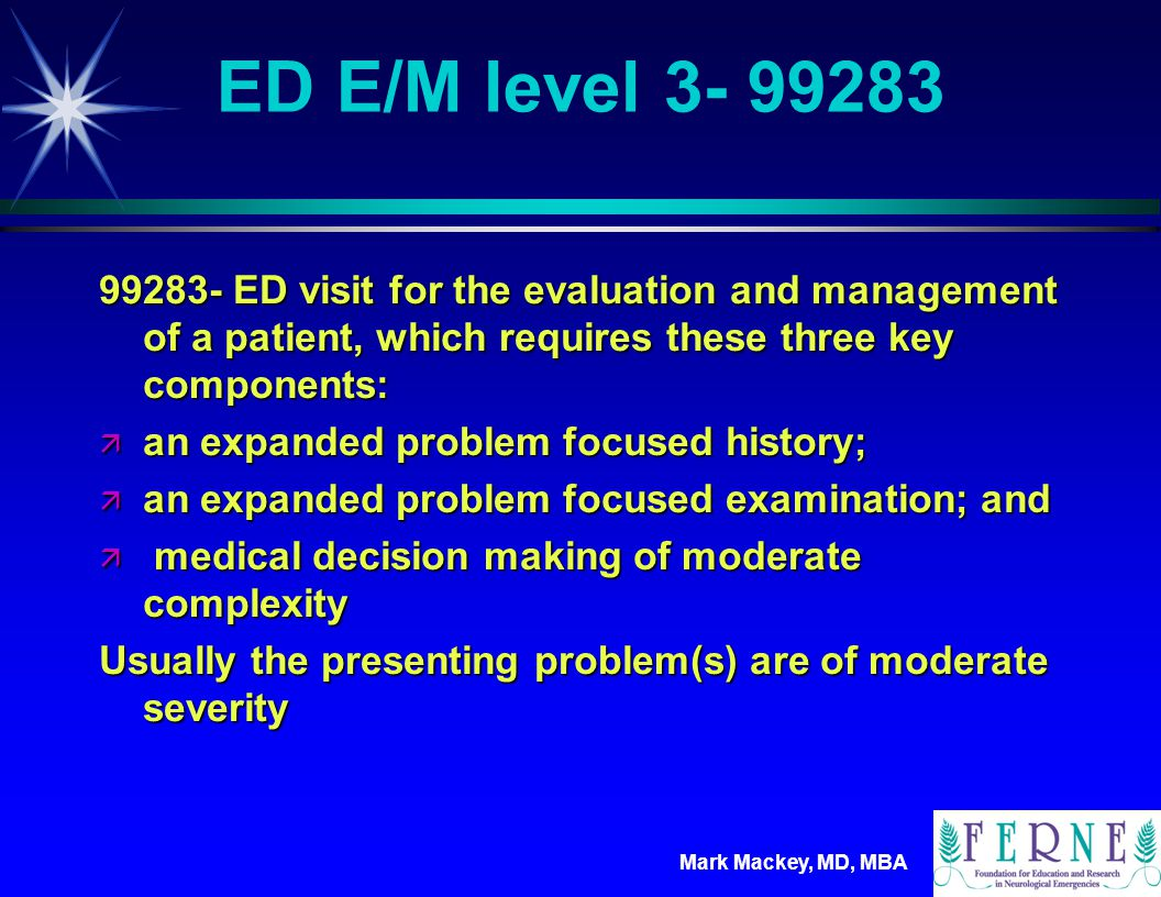 ED E/M level 3- 99283 99283- ED visit for the evaluation and management of a patient, which requires these three key components: