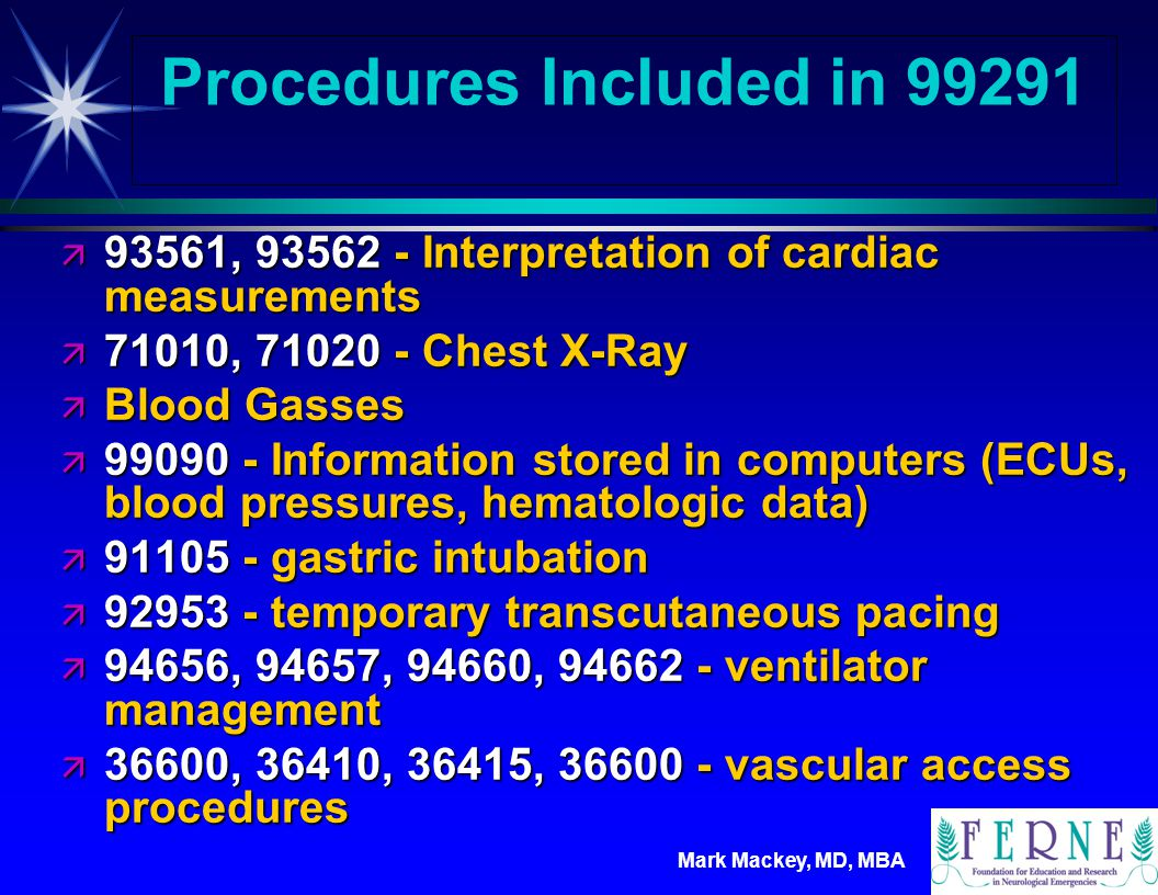 Procedures Included in 99291