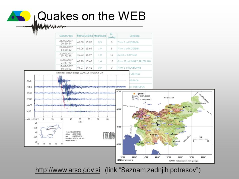 Quakes on the WEB http://www.arso.gov.si (link Seznam zadnjih potresov )