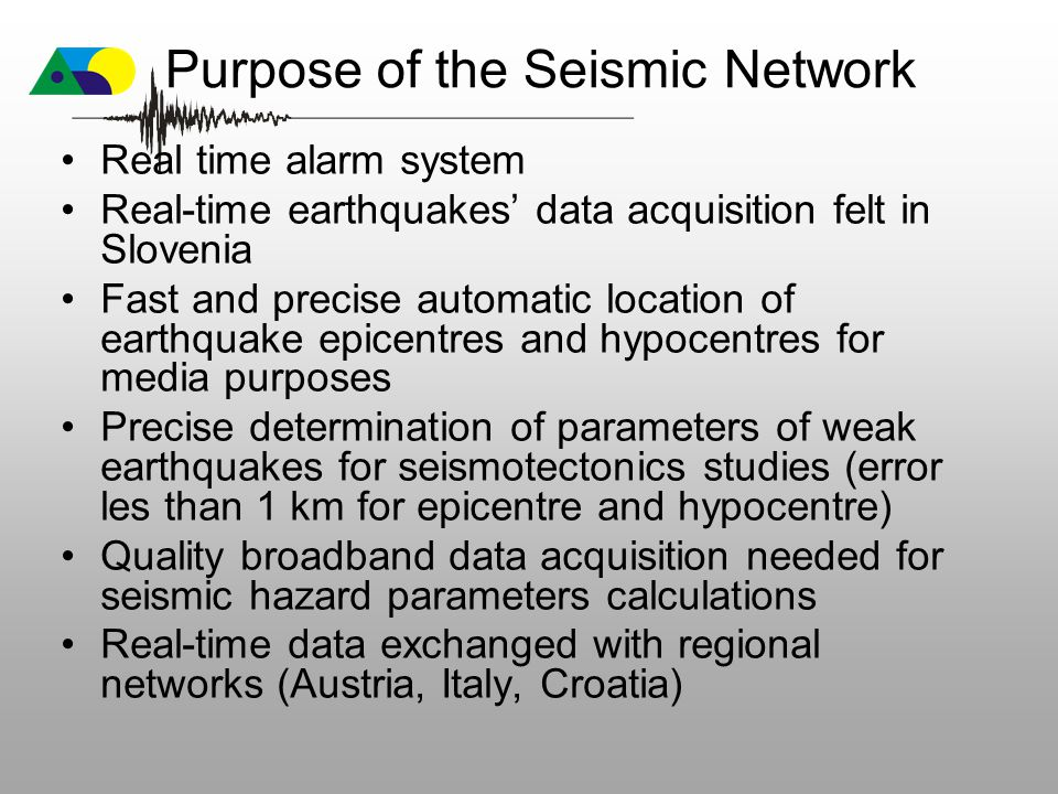 Purpose of the Seismic Network