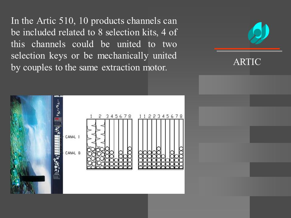 In the Artic 510, 10 products channels can be included related to 8 selection kits, 4 of this channels could be united to two selection keys or be mechanically united by couples to the same extraction motor.