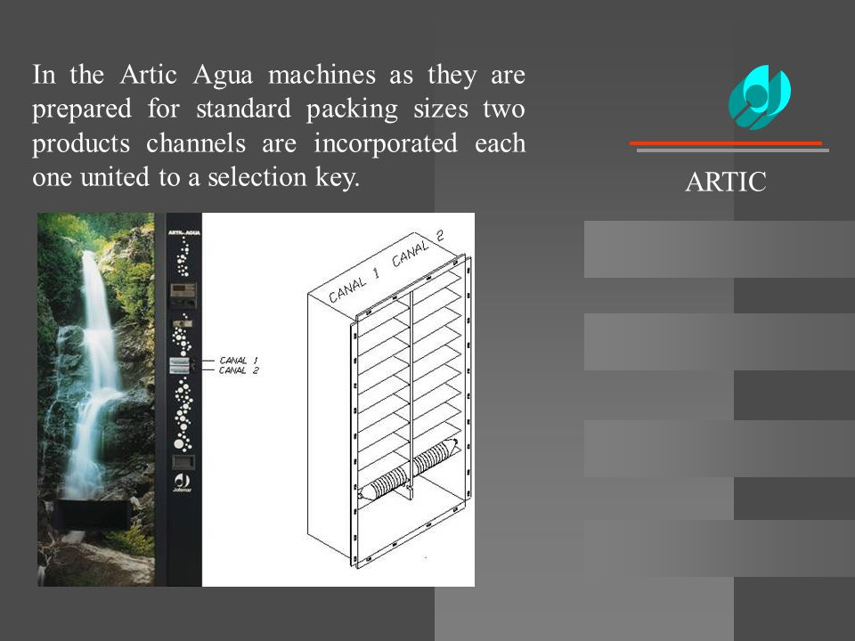 In the Artic Agua machines as they are prepared for standard packing sizes two products channels are incorporated each one united to a selection key.