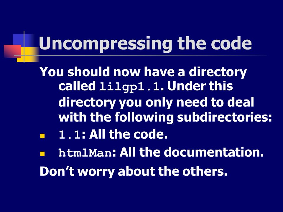 Uncompressing the code