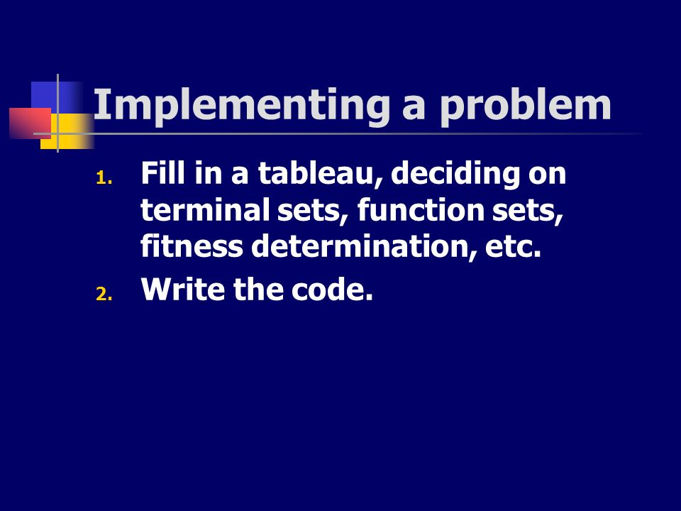 Implementing a problem