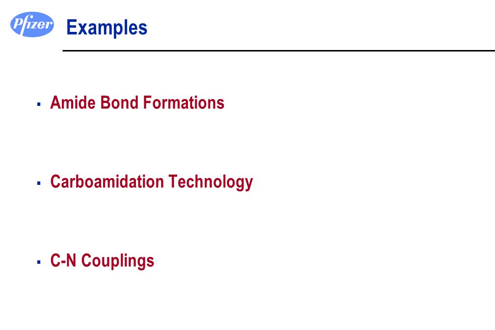 Examples Amide Bond Formations Carboamidation Technology C-N Couplings