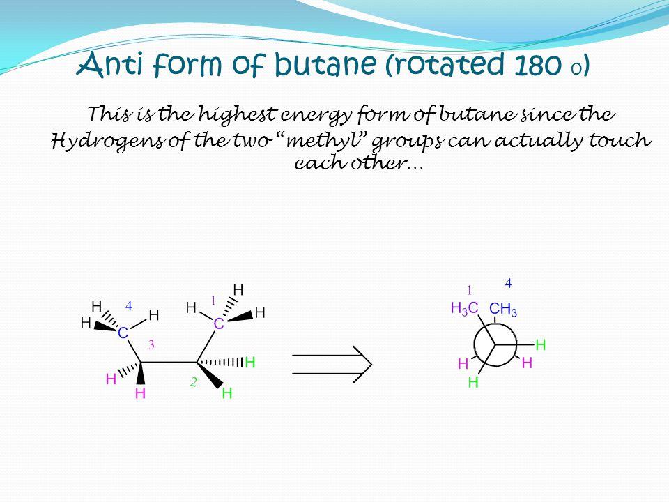 Anti form of butane (rotated 180 o)