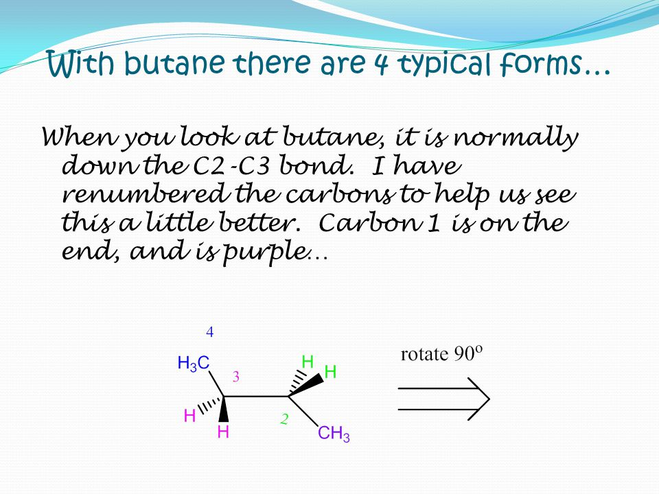 With butane there are 4 typical forms…