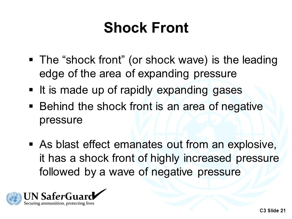 Shock Front The shock front (or shock wave) is the leading edge of the area of expanding pressure.