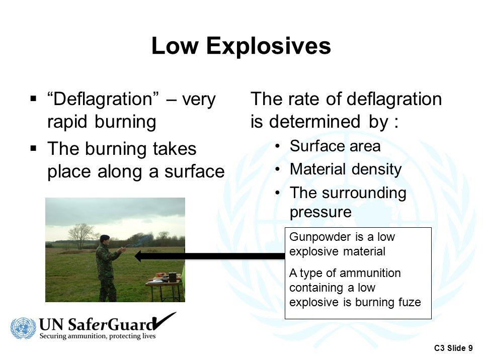 Low Explosives Deflagration – very rapid burning